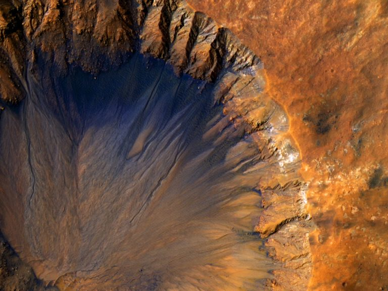 Crater on Mars; image taken my the Mars reconnaissance orbiter